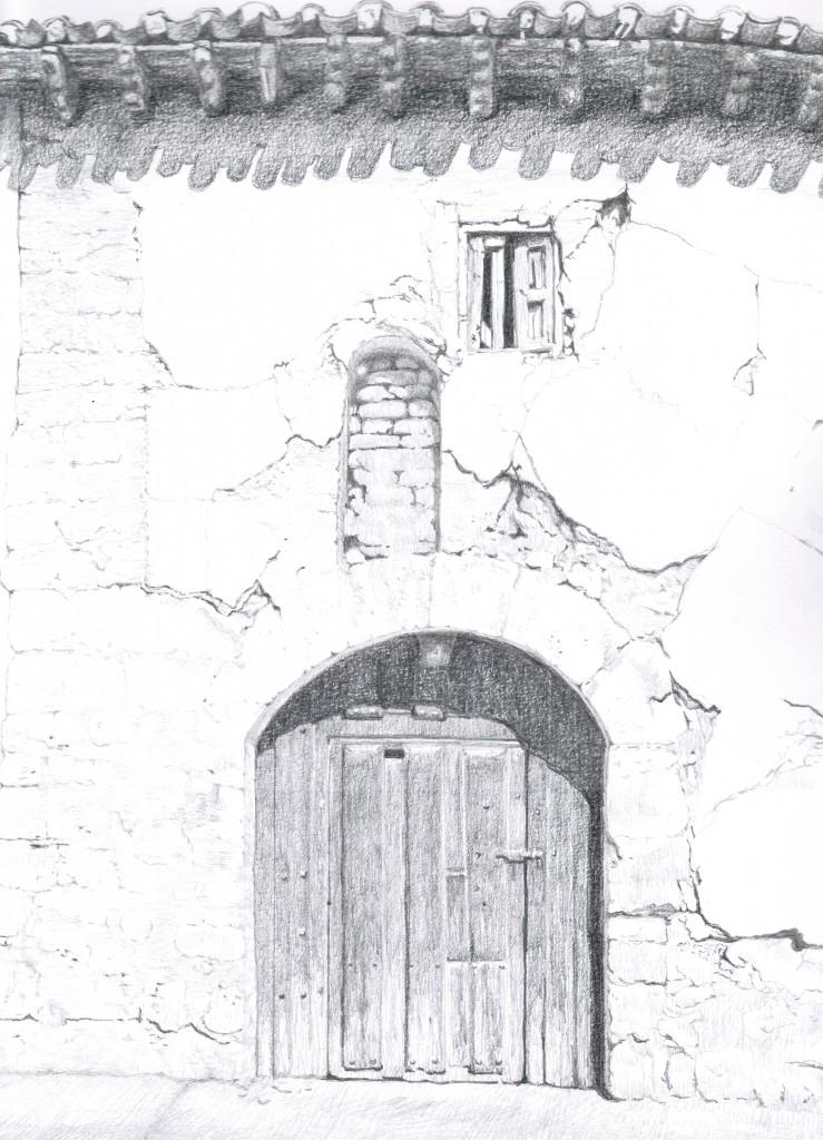 Fachada del antiguo hospital (dibujo realizado por D. Julio del Val)